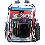 Heavy Duty Clear Backpack Durable Military Nylon Clear Bookbags Transparent See Through for School Work