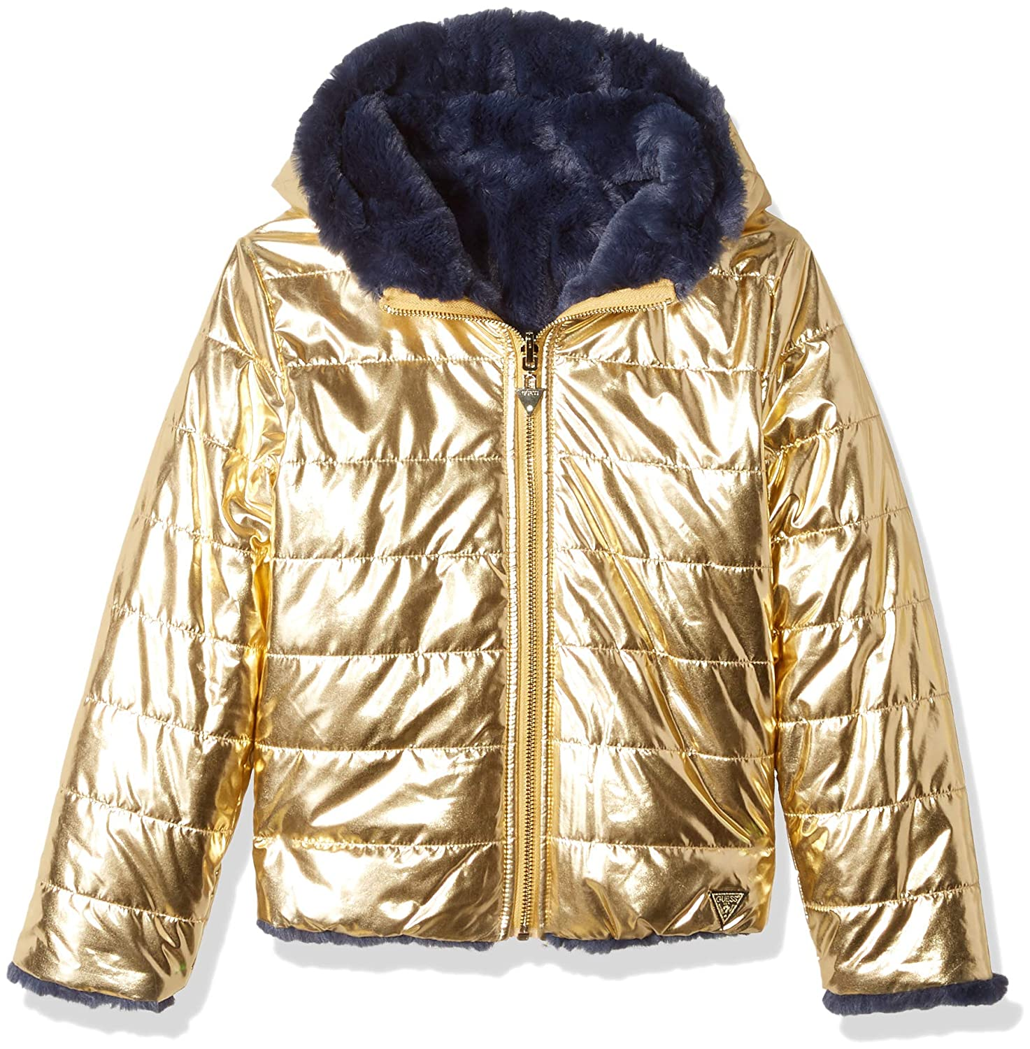 Amazon.com: GUESS Girls Big Faux Fur Hooded Puffer Jacket ...