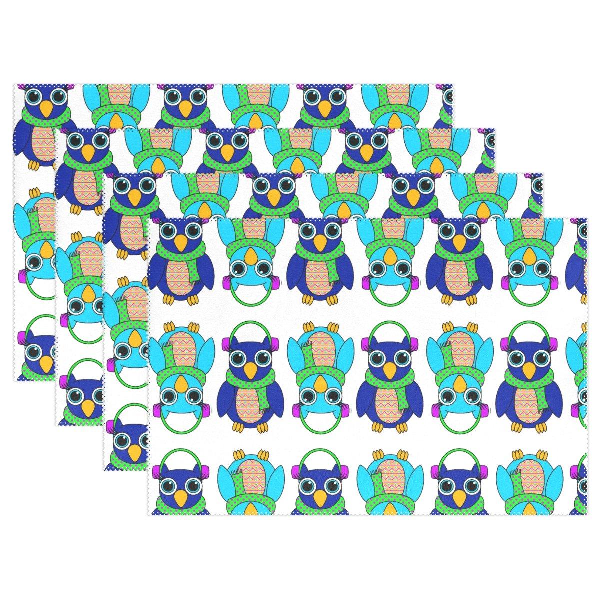 alireaフクロウ印刷ポリエステルテーブルPlaceマット12