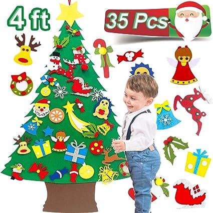 Felt Christmas Tree Set DIY Kids Educational Toy Door with Detachable Ornaments