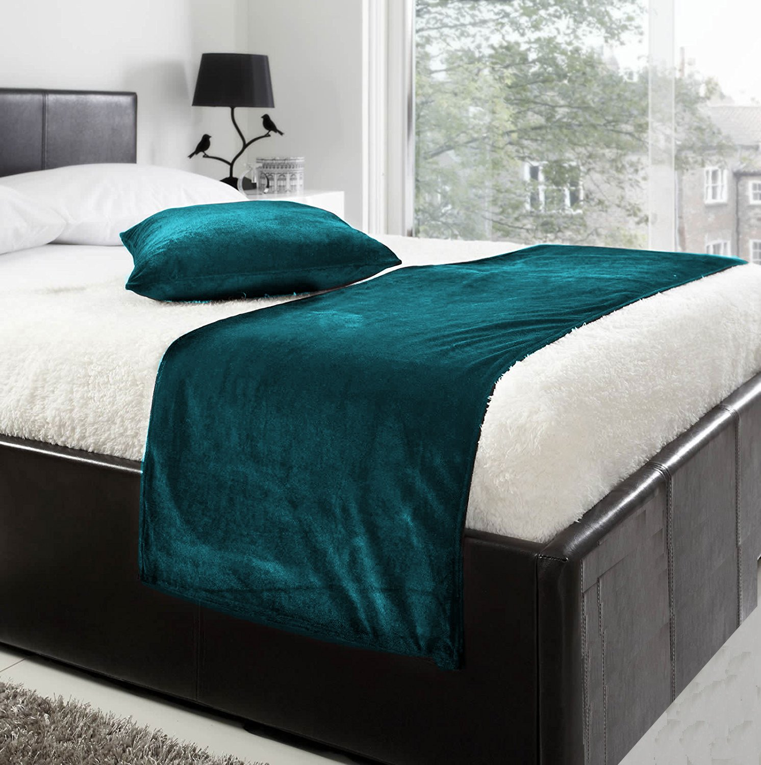 fabricart LUXURY VELVET BED RUNNER SET | Scarf | Throw | with 2 cushion cover for all bed sizes (teal, KING- 19.6x94.4 inch)