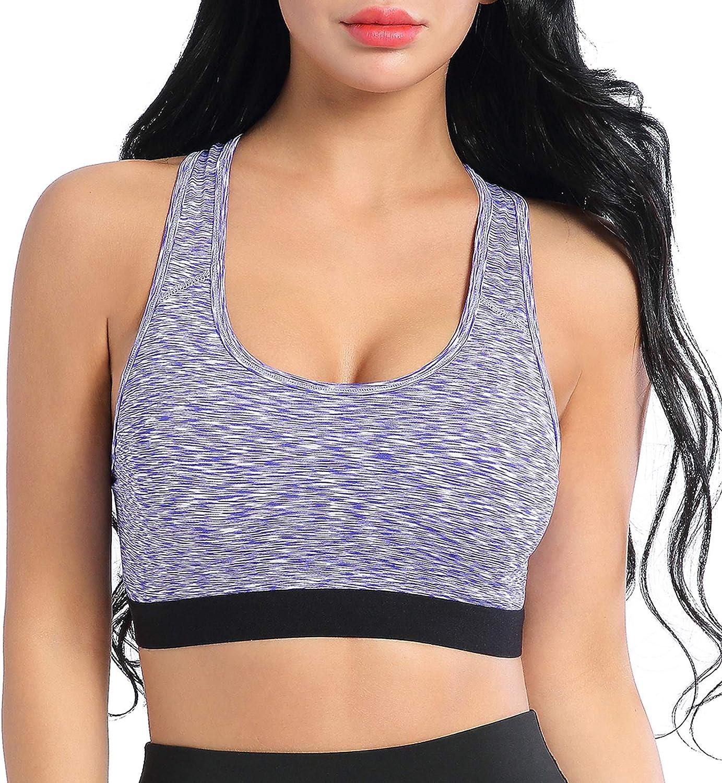 AMZSPORT Trendy Series Sujetador Deportivo de Racerback para Mujer Yoga Running Top con Almohadillas Removibles