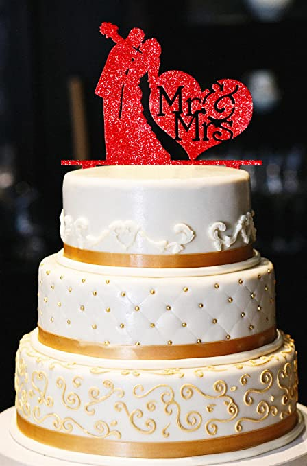Amazon.com: Mr & Mrs Wedding Cake Topper, Kiss Wedding Cake Topper ...
