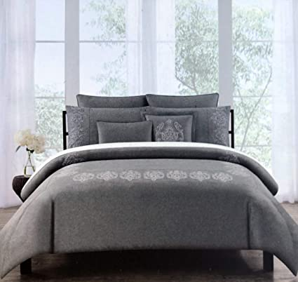 d85704a8cc Tahari Home Maison Bedding Embroidered Silver Metallic Thread Medallions on  Charcoal Gray King Size Luxury 3
