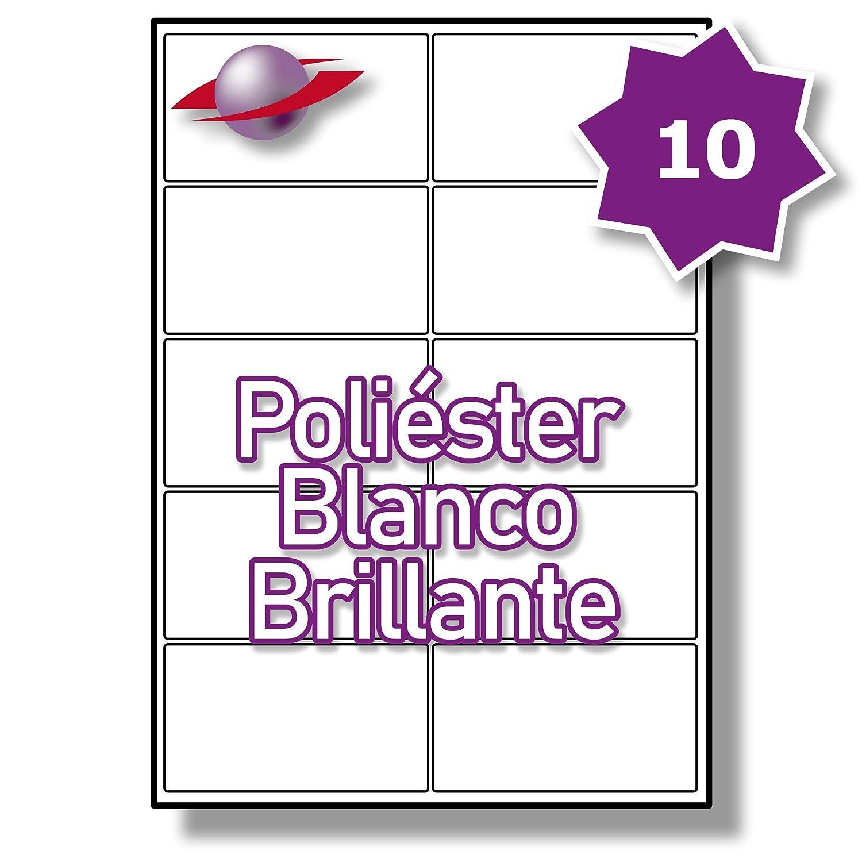 10 Par Hoja, 50 Hojas, 500 Etiquetas Etiquetas. Label Planet® Etiquetas 500 de Poliéster Blanco Brillante para Impresión Láser 99.1 x 57mm, LP10/99 GWP. a7e367