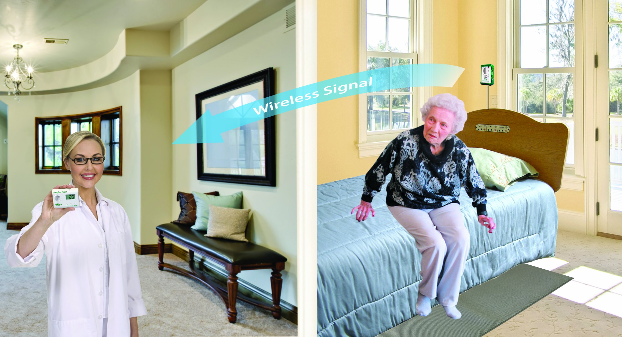 Caregiver Pager with Weight Sensing Floor Mat & Alarm - No Alarm in Resident's Room!