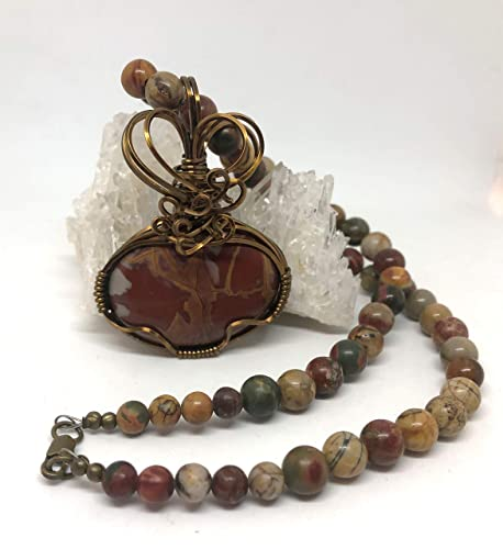 Noreena Jasper Pendant  Wire Wrapped Jewelry  Crystal Jewelry  Handmade  Gifts for Her  Gifts for Him  Crystal Lovers Gift