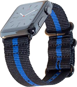 Carterjett Thin Blue Line Nylon Compatible Apple Watch Band 44mm 42mm Series 6 & SE, Series 5, 4, 3, 2, 1 Outdoors Woven Canvas iWatch Band Replacement Military Sport Wrist Strap (42 44 S/M/L Thin Blue Line)