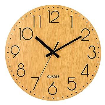LENRUS 12 Zoll/30CM Hölzern Wanduhr Küchenuhr Nicht Tickende Uhr Für Die  Küche Home