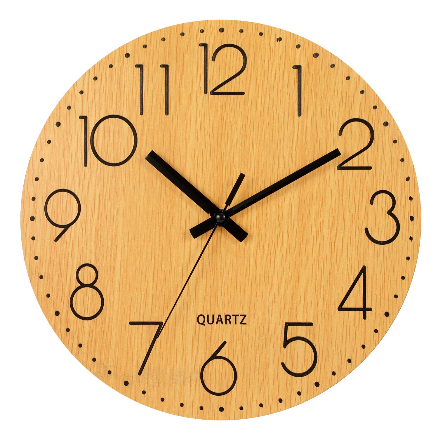 Genbaly 12'' Wooden Wall Clock, Arabic Numeral Design Rustic Country Tuscan Style Vintage Decorative Round Wall Clocks (Wood Color)
