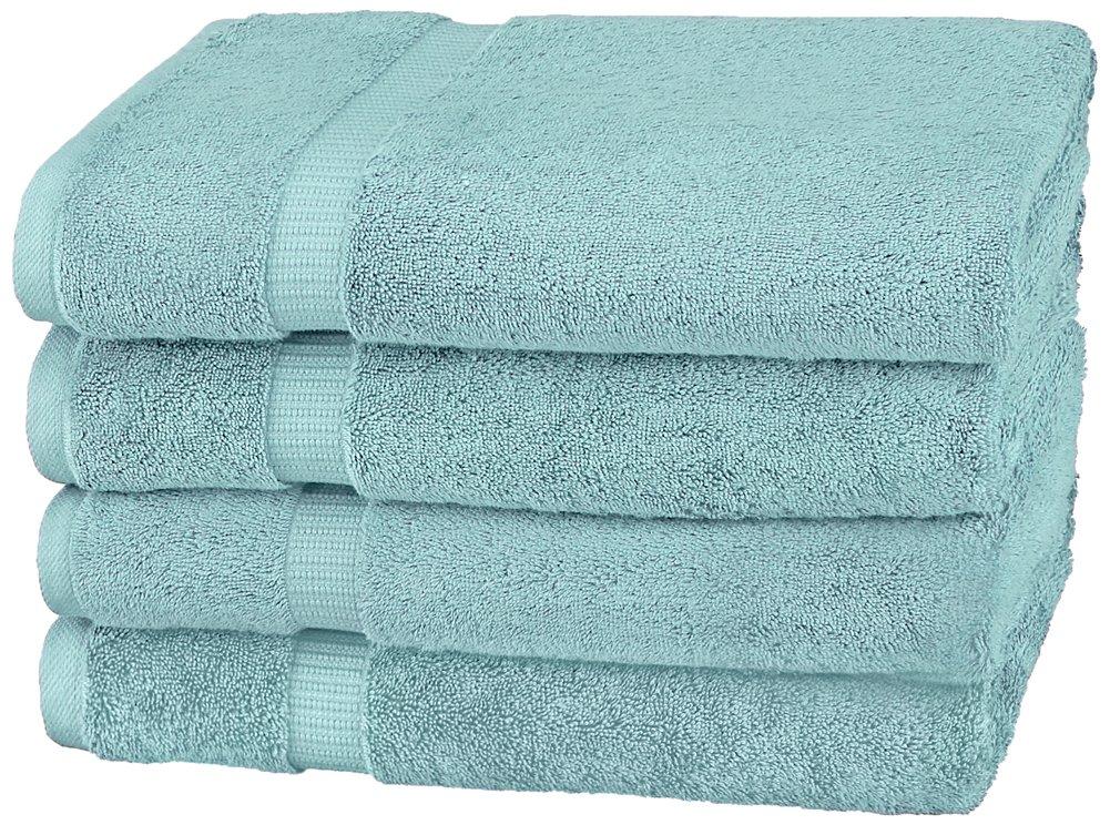 Pinzon Organic Cotton Bath Towels (4 Pack), Spa Blue