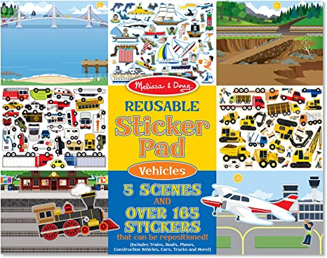 Melissa Doug Vehicles Reusable Sticker Pad Extra Large Sticker Activity Pad Removable Backgrounds 165 Stickers Great Gift For Girls And Boys