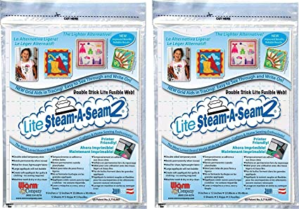 "LITE STEAM-A-SEAM 2-9/"" x 12/"" SHEETS DOUBLE STICK FUSIBLE WEB"