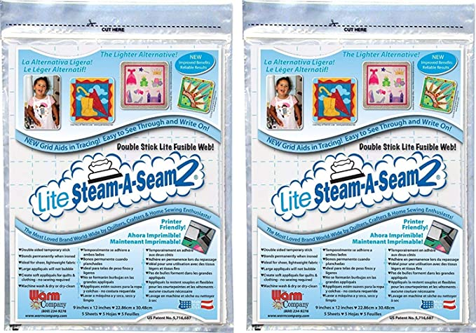 "Warm Company Steam A Seam 2 Lite Fusible Web 9/"" x 12/"" Pkg of 5 Sheets"