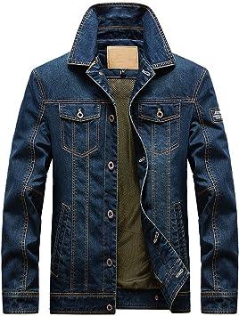 デニムジャケット メンズクラシックルックボタンの前立て リラックスフィットバイクワークコート ユーズド加工の刺繡デニムジャケット
