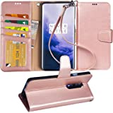OnePlus 7 Pro Case, Arae PU Leather Wallet case for OnePlus 7 Pro with Wrist Strap and ID&Credit Cards Pocket - Rosegold