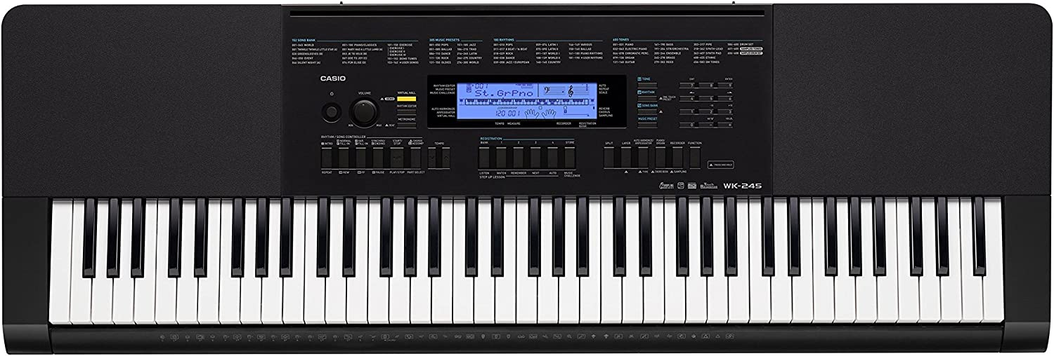Casio WK-245 76-Key Touch Sensitive Keyboard with Power Supply
