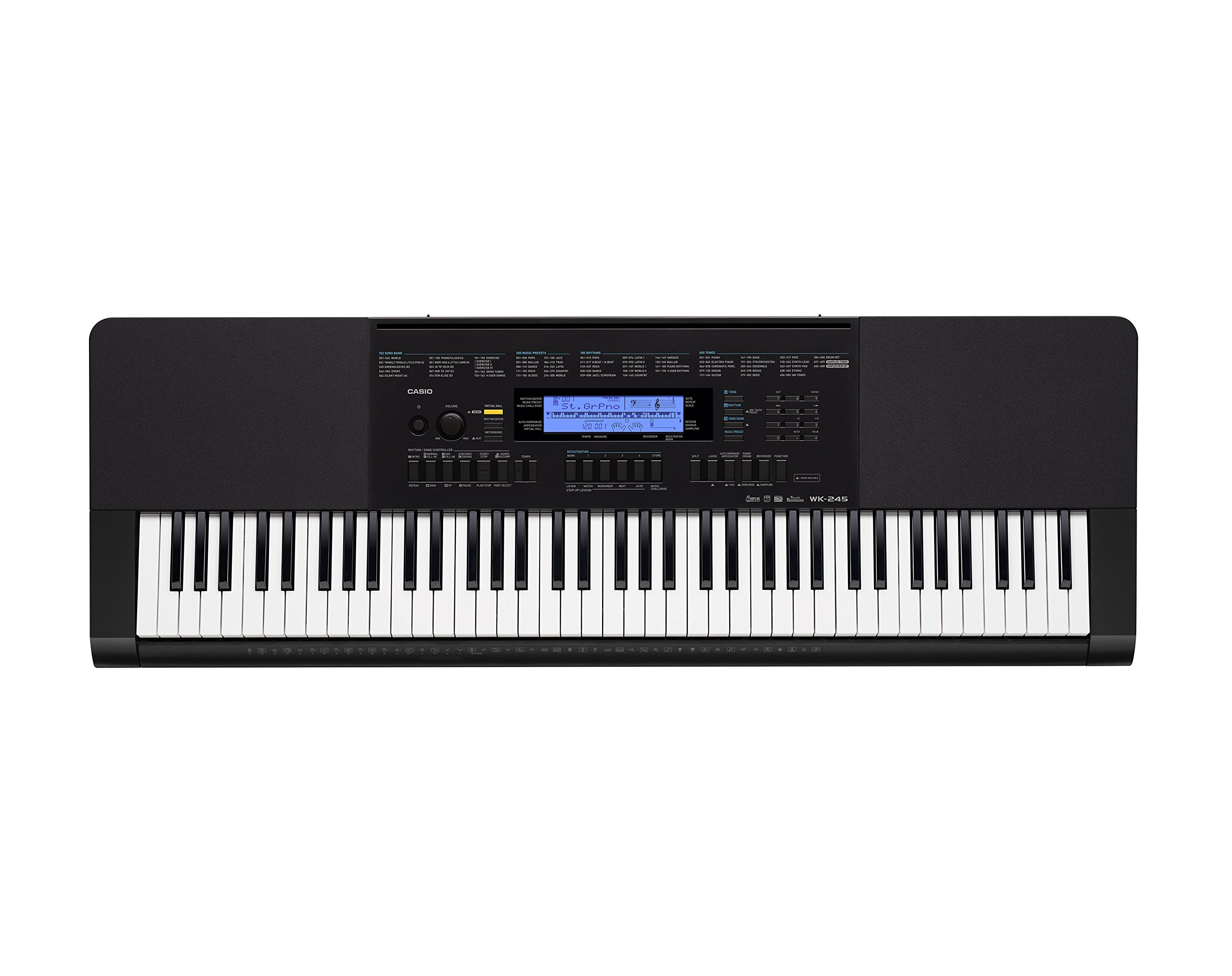 Casio WK-245 76-Key Touch Sensitive Keyboard with Power Supply by Casio