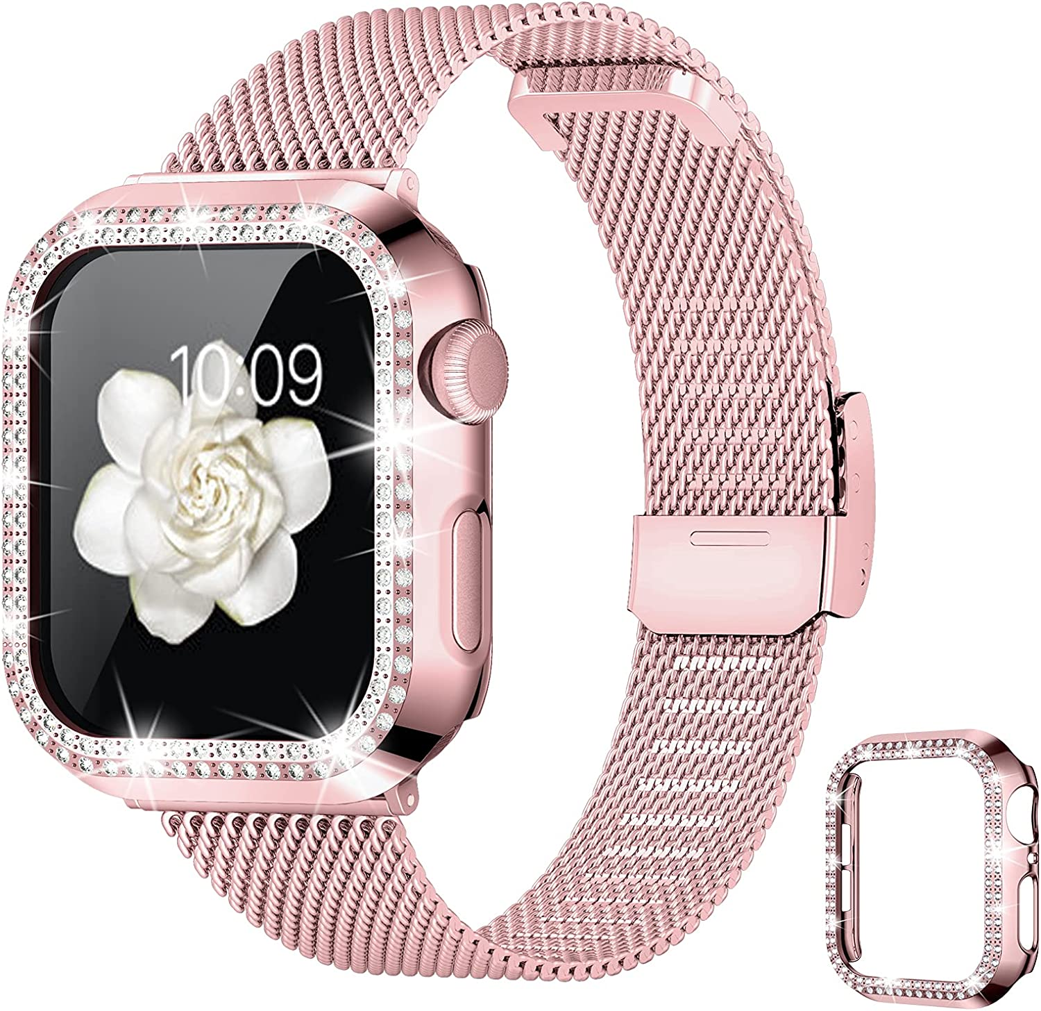 Goton Compatible with Apple Watch Band 38mm 40mm 42mm 44mm with Bling Case for Women Girls,Thin Slim Stainless Steel Mesh Metal Replacement Wristband for iWatch SE & Series 6/5/4/3/2/1(Rose Pink,40mm)