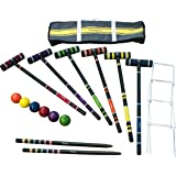 Harvil 6-Player Croquet Set with Poly-Resin Balls, 30-inch Rubber Wood Mallets, Stake Posts, Metal Wickets and Carrying Case.
