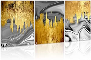 Golden Modern Abstract Wall Art Decor Black and White Canvas Painting Kitchen Prints Pictures for Home Living Dining Room