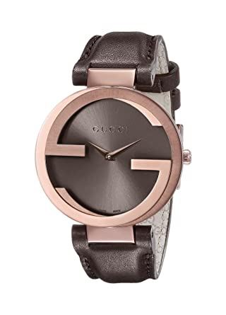f6181b395b7 Amazon.com  Gucci Interlocking Brown Strap Women s Watch(Model ...