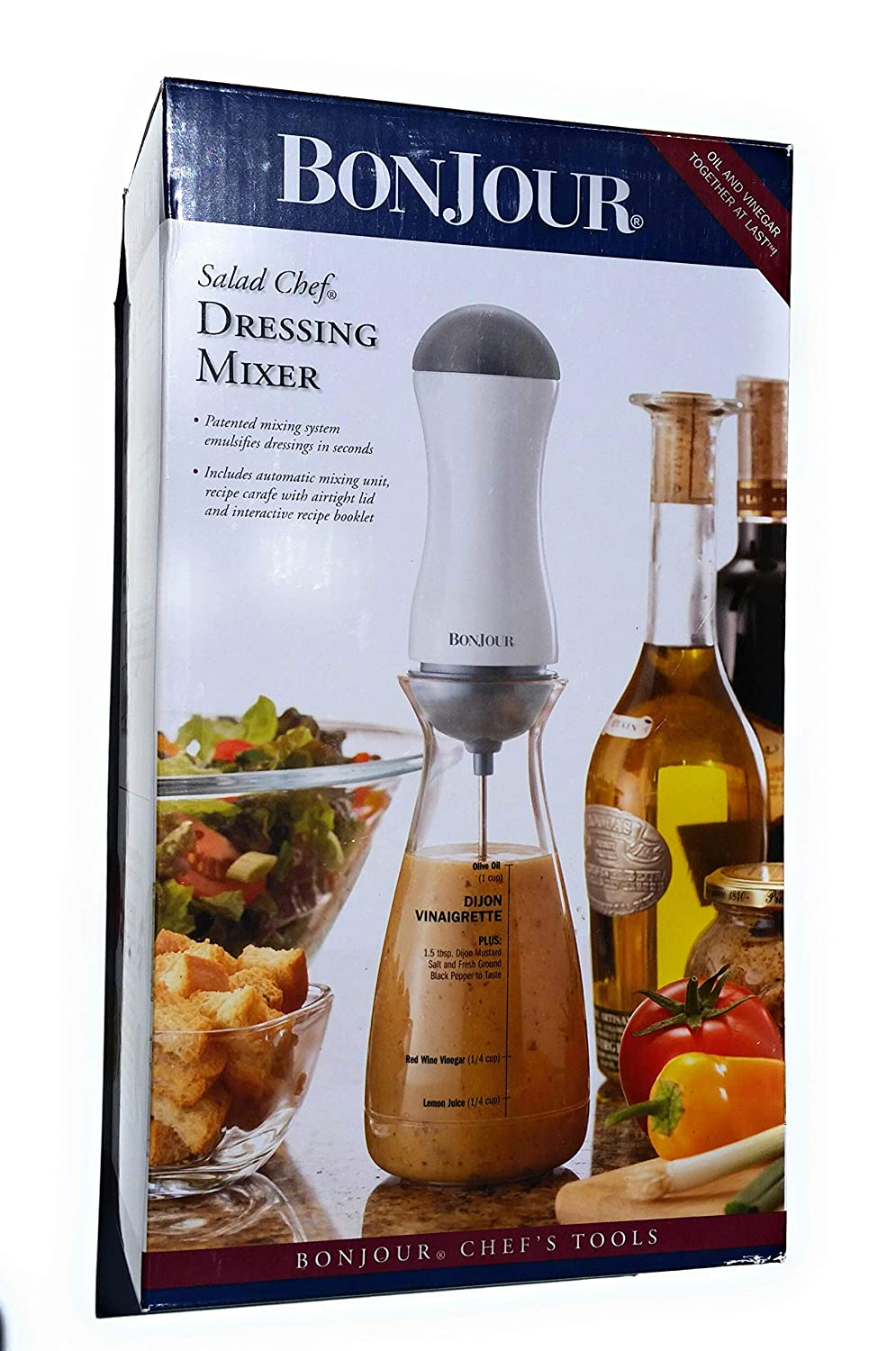 BonJour Chef's Tools Plastic Salad Dressing Carafe and Handheld Mixer, 12-Ounce, Salad Chef 53766