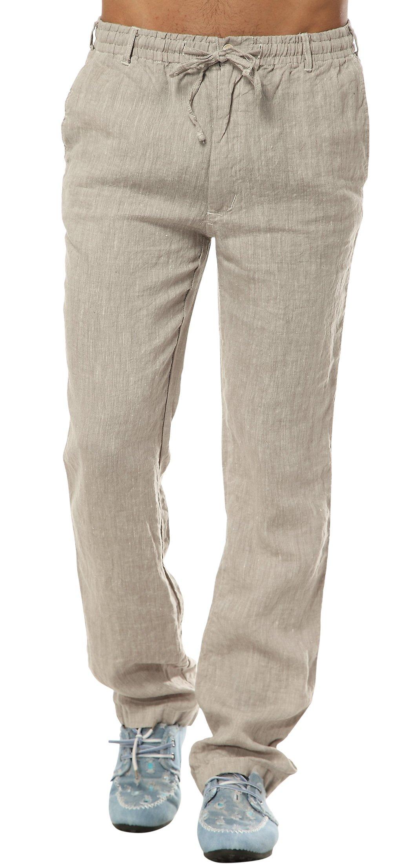 utcoco Men's Mid Waist Straight Leg Linen Thin Pants XX-Large Khaki