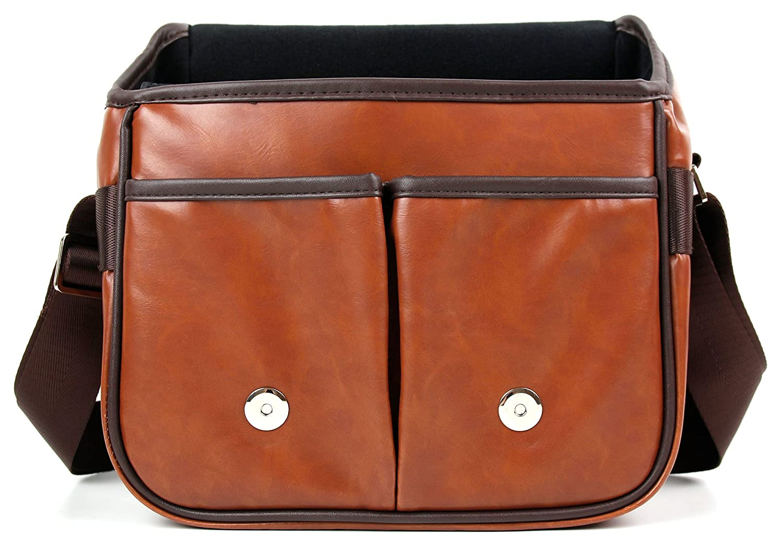 DURAGADGET Brown PU Vintage Brown Leather Vintage Brown Satchel Carry Bag Suitable for Polaroid OneStep+|Polaroid OneStep 2 i-Type Camera|Polaroid OneStep 600 Camera