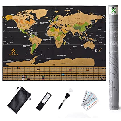 Scratch Off World Map With Us States.Amazon Com Scratch Off World Map Travel Poster Large All Us