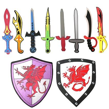 Amazon.com: Juego de 10 espadas y escudo de espuma surtidos ...