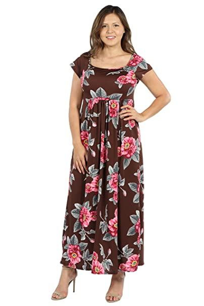 c547a6df2a7e 24seven Comfort Apparel Cap Sleeve Empire Waist Plus Size Maxi Dress - Made  in USA - (Sizes 1X-3X): Amazon.ca: Clothing & Accessories