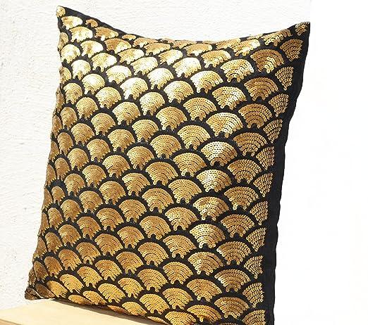 Cojín de lentejuelas de oro - oro - Funda de almohada ...