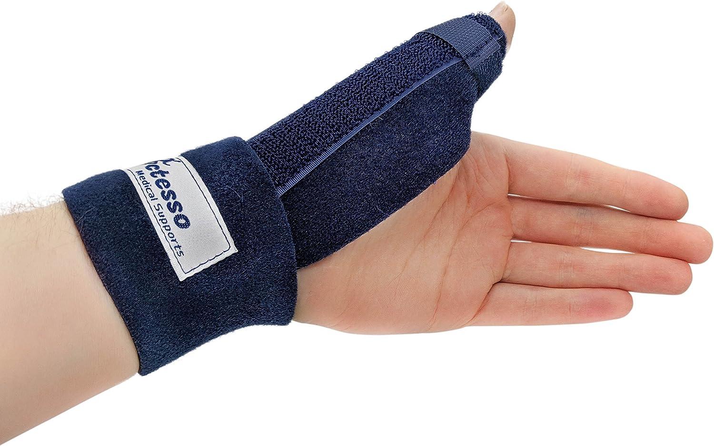 Órtesis Médica Neopreno Para Pulgar - La ferula pulgar Actesso es perfecta para dolor de pulgar, tendinitis, esguinces y distensiones - izquierda o derecha - tamaño universal (Izquierda, Azul)