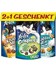 FELIX Leckerlis: 2 KnabberMix und 1 Crispies (gratis), vitaminreich, Menge: 6er Pack (6 x 2 x 60 g + 6 x 45 g gratis)