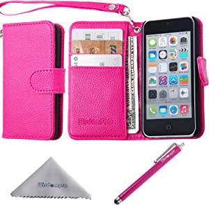 Wisdompro iPhone 5c Case, Premium PU Leather 2-in-1 Protective Flip Folio Wallet Case with Multiple Credit Card Holder/Slots and Wrist Lanyard for Apple iPhone 5c (Hot Pink)