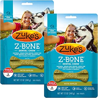 product image for Zuke's Z-Bone Dental Chew Dog Treats, Apple, Regular, 16 Chews