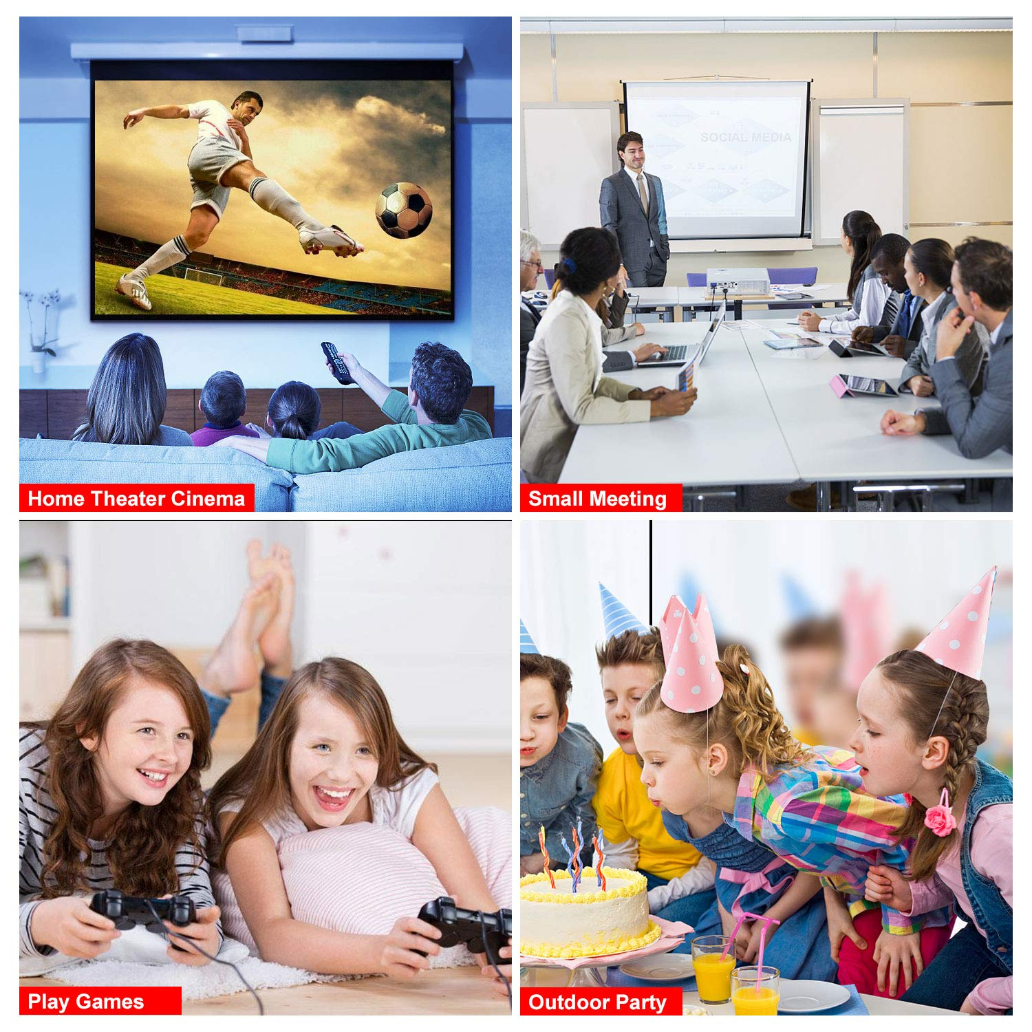 Projector, Queretek Video Projector 2800Lux WiFi Direct, HD Projector Mini Home Theater Projector Support 1080P, with HDMI Cable USB VGA AV, Compatible Laptop Tablet Smartphone Amazon Fire TV Stick by Queretek (Image #7)