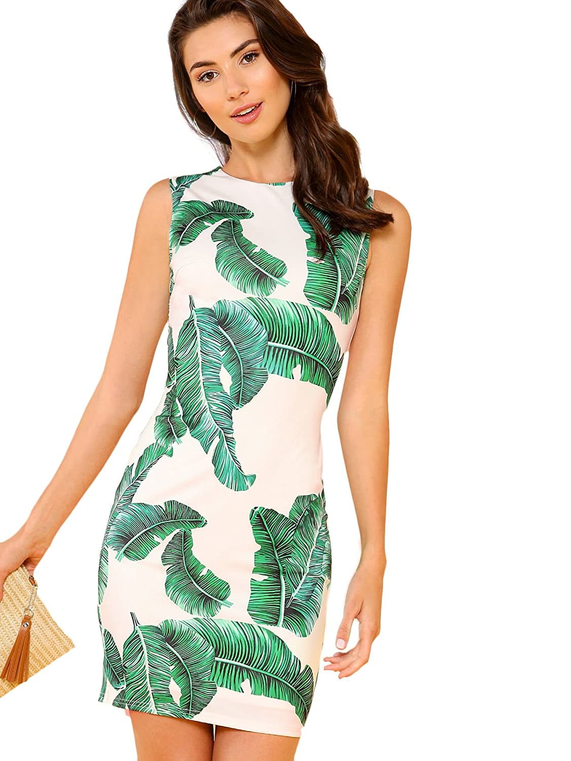 Green   White Floerns Women's Floral Print Sleeveless Split Cocktail Party Bodycon Dress