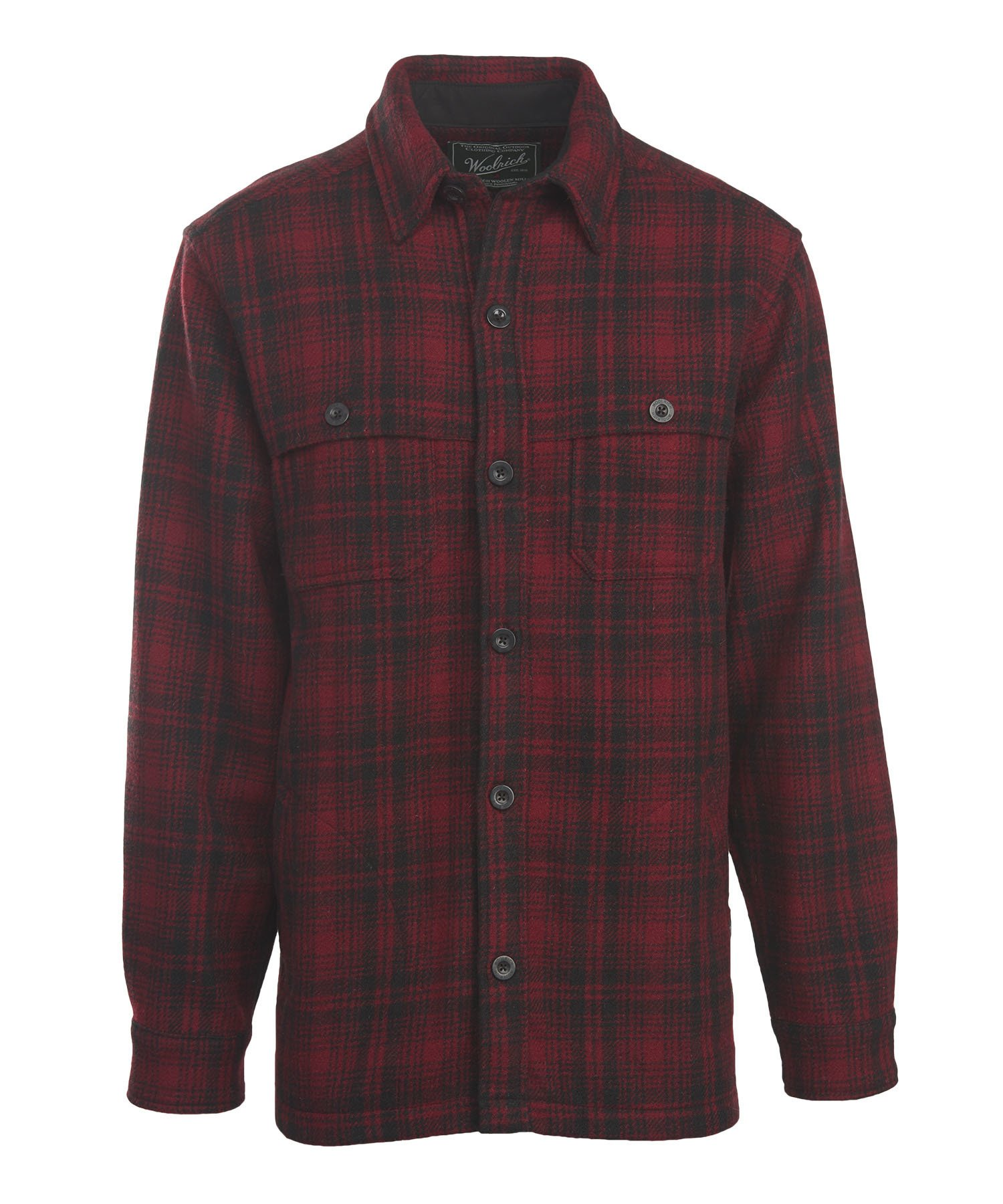 Woolrich Men's Wool Stag Shirt Jacket, Red Hunt, Large