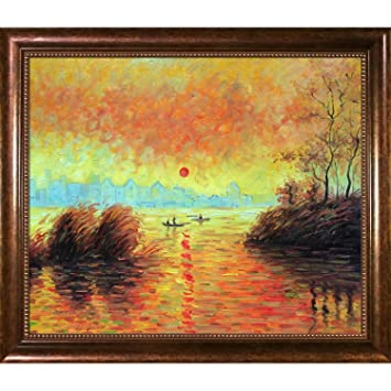 Amazon.com: La Pastiche Le Coucher Du Soleil La Seine by Monet with ...