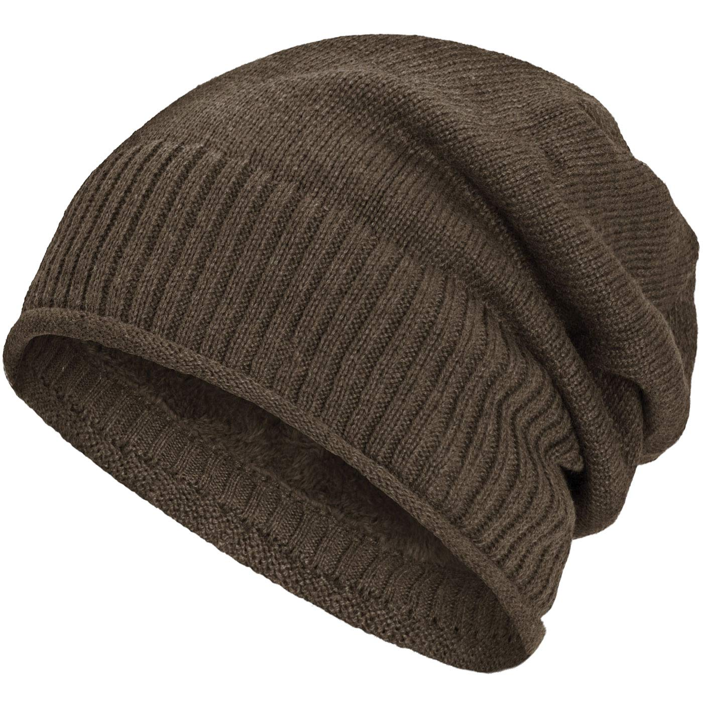Compagno lined beanie winter hat fine knit design with a soft fleece lining Color:Brown