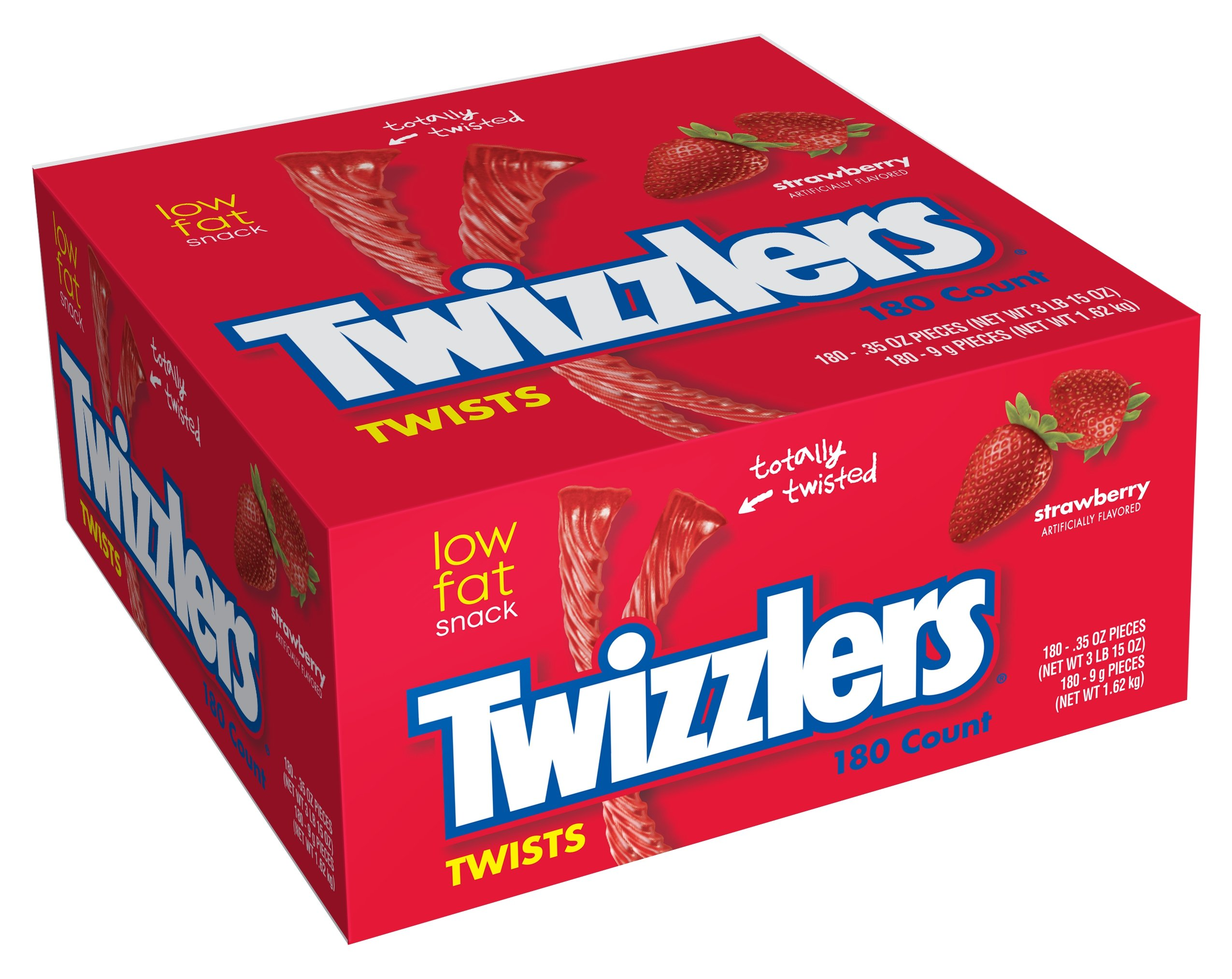 TWIZZLERS Licorice Candy, Strawberry, 180 Count (Pack of 2)