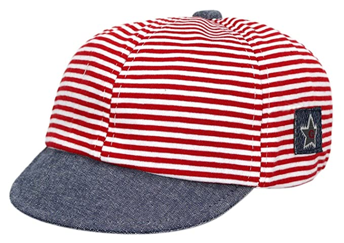 Gemvie Baby Infant Boys Girls Striped Peaked Hat Baseball Beret Cap Red 466406c628b