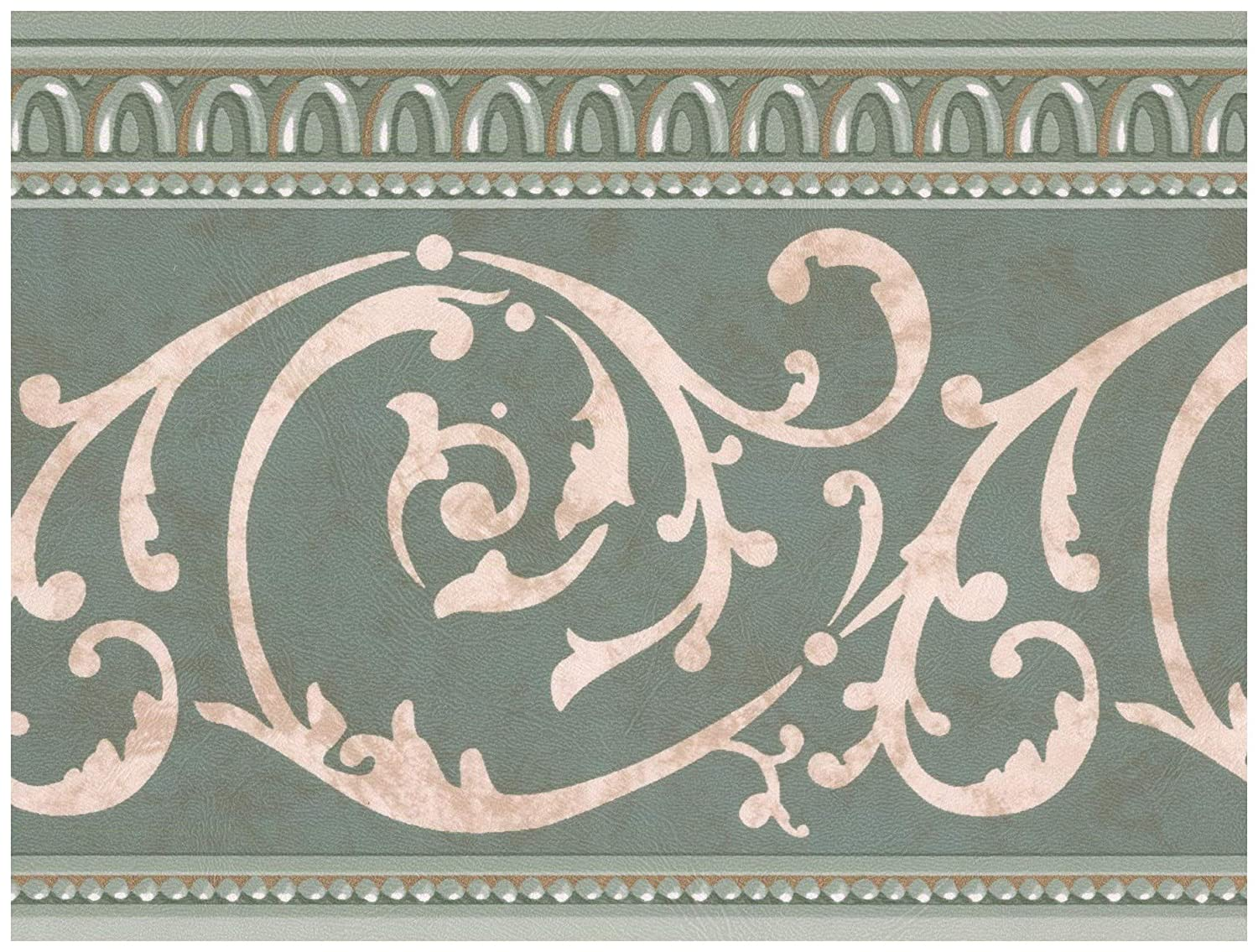 Amazon.com: Wall Border - Sepia Damask ScPrepasted Rolls and ...
