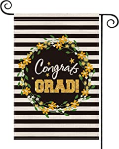 AVOIN Congrats Grad Stripes Wreath Garden Flag Vertical Double Sided, Flower Star Graduation Yard Outdoor Decoration 12.5 x 18 Inch