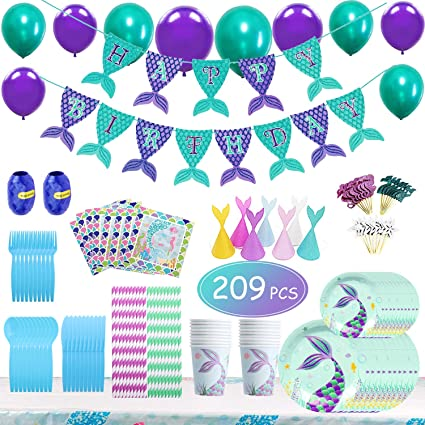 Amazon.com: Mermaid Party Supplies - Juego de 209 piezas ...