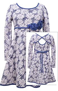 bd8d402312b Bonnie Jean Big Girls Plus-Size Blue White Open Back Floral Jacquard Knit  Fit