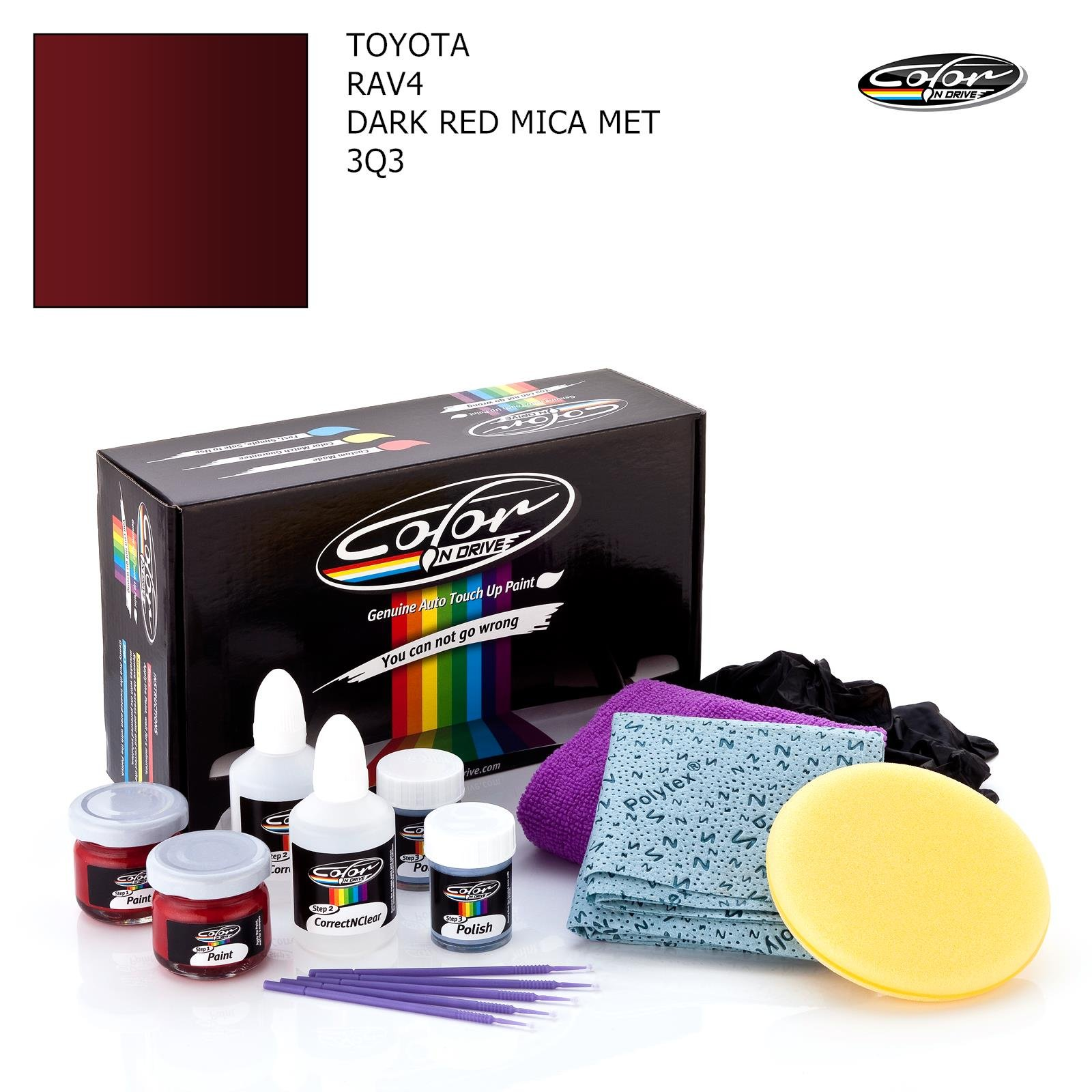 Toyota RAV4 / Dark RED MICA MET - 3Q3 / Color N Drive Touch UP Paint System for Paint Chips and Scratches/PRO Pack