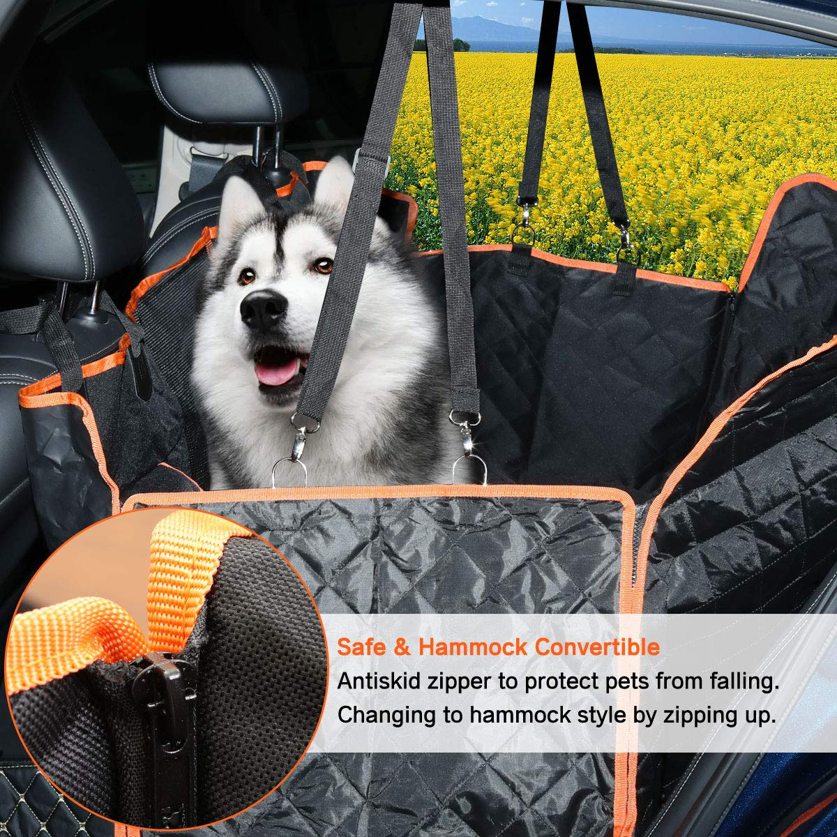 Wondesha Dog Seat Cover Car Seat Cover for Pets 100% Waterproof Pet Seat Cover Hammock Scratchproof Nonslip Durable Soft Pet Back Seat Covers with 2 Dog Seat Belts for Cars Trucks SUV Travel